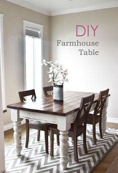 New Farmhouse dining room table and chairs. DIY farmhouse table and gray armchair with nail head details. A beautiful Neutral Modern Farmhouse Dining Room Read Furniture Projects, Furniture Plans, Home Projects, Stain Furniture, Building Furniture, Ana White Furniture, Furniture Design, Staining Furniture Darker, Furniture Makeover