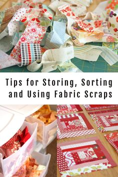 Tips for Storing, Sorting, and Using your leftover Fabric Scraps Lots of ideas for sorting, storing and using your fabric scraps. Lists of projects and tutorials to make with fabric scraps. Organizing Fabric Scraps, Organize Fabric, Scrap Fabric Projects, Fabric Crafts, Sewing Projects, Sewing Tips, Sewing Ideas, Sewing Patterns, Block Patterns