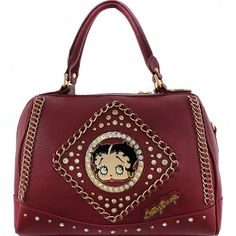 Official Betty Boop® Rhinestone Studded Handbag with Chain Detail – Handbag Addict.com