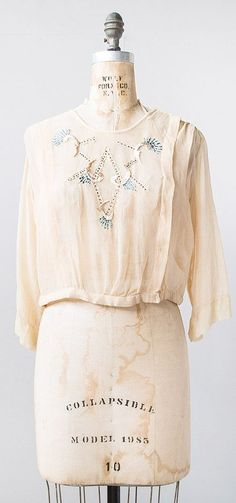 vintage 1920s pale cream blue embroidered sheer blouse