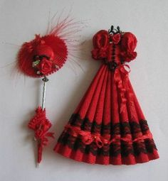 Miniature hand made ladies pleated dress in stunning red silk. Trimmed with black lace, black buttons, red silk ribbon, diamantes and red roses, this eye catching set also includes a picture hat and a rolled parasol.