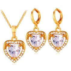 A Suit of Charming Rhinestoned Heart Necklace and Earrings For Women #CLICK! #clothing, #shoes, #jewelry, #women, #men, #hats