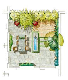 Ontwerp voor een patiotuin met vijverbak en houten zonneterras.