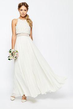 6d05839ef7ba ASOS Bridal Pearl Crop Top Wedding Dress Wedding Dresses Under 500