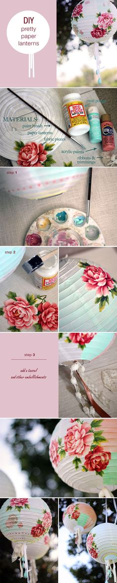 Funny, I already thought of doing this and have the paper lanterns, now I see it will work and looks good. DIY paper lanterns - the art of decoupage ♥ Cute Crafts, Creative Crafts, Diy And Crafts, Paper Crafts, Diy Projects To Try, Craft Projects, Lila Party, Diys, Diy Lampe