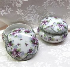 The Vintage Village - View Classified - Victorian Porcelain Trinket Boxes (set)…