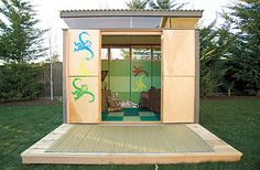 play shed for kids--we did this with the old firewood shed--our kids just loved stomping around for all the noise they could make.