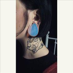 Stone Teardrop - Opalite | UK Custom Plugs - Ear Gauges, Flesh Tunnels for Stretched Ears