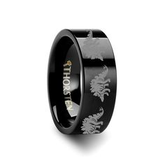Thorsten Dinosaur Raptor Velociraptor Prehistoric Paleo Print Pattern Ring Black Tungsten Ring 4mm Wide Wedding Band from Roy Rose Jewelry