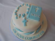 Resultado de imagen para torta comunion varon cuadrada Bautizo Cakes, Chocolates, Comunion Cakes, Confirmation Cakes, First Communion, Birthday Cake, Cookies, Desserts, Food