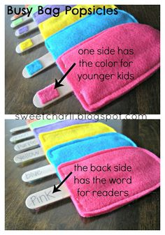 Matching. colored felt bags, with a color sample on one end of the stick and the word on the other side (for readers)