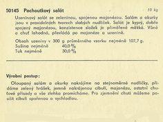 Technický popis pochoutkového salátu