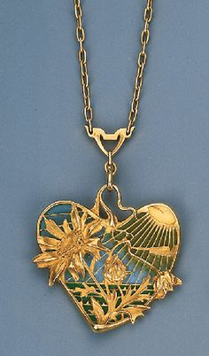 An Art Nouveau Plique-A-Jour Enamel Brooch Pendant by Gautrait   To an openwork link chain, circa 1900, with fitted case by Ch. Fontana & Cie., 13 Rue Royale, Paris, with French assay marks, separate brooch attachment, 25.5 cm long  Signed L. Gautrait