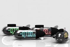 """These """"Sub Morning"""" alarm clocks must be submerged in water before turning off."""