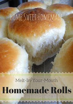 Melt-In-Your-Mouth Homemade Rolls Bread Recipes, New Recipes, Cooking Recipes, Homemade Rolls, Tasty, Yummy Food, Rolls Recipe, Bread Rolls