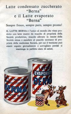 La pubblicità del latte Berna in una immagine degli anni '70