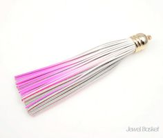 - White Pink Color Leather - Gold Color Brass Cap / 12mm x 98mm - 1pcs / 1pack