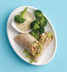 chicken & apple salad wrap- mix 5oz chopped chicken, 1/4 cup each chopped apple & chopped celery. combine 2 tsp balsamic vinegar, 1 tsp olive oil, 1 tsp honey, season with black pepper, & toss. spread on an 8-inch whole-wheat wrap & top with 1/2 cup chopped lettuce. / Would be a great snack to pack in coolers at the beach this summer!