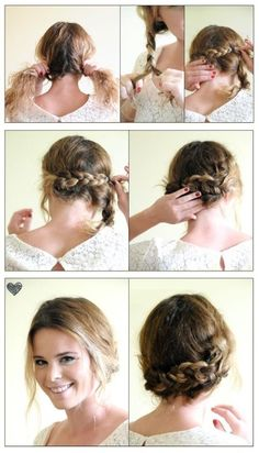 Easy Braided Up-Do Hairstyle - I love how her hair isn't perfectly smooth either, makes it so much more relatable!