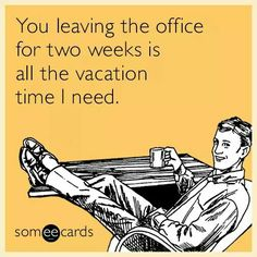 Free and Funny Farewell Ecard: You leaving the office for two weeks is all the vacation time I need. Create and send your own custom Farewell ecard. Vacation Humor, Vacation Quotes, You Funny, Hilarious, Funny Pins, Funny Jokes, Funny Stuff, Back To Work After Vacation, Hostile Work Environment