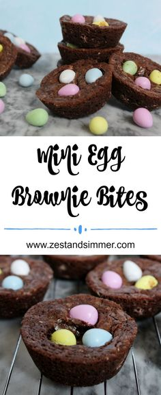 Mini Egg Brownie Bites – Loaded with Mini Eggs, everyone's favourite Easter candy, these chocolatey brownie bites are super cute and are a perfect yummy springtime or Easter treat! Brownie edge lovers will especially adore these! This recipe is simple to whip up and will be a dessert everyone demands more of!