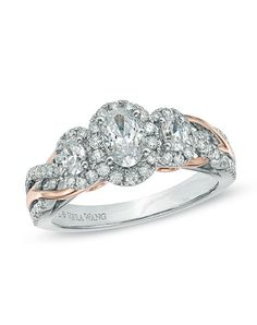 Vera Wang LOVE Collection 1 CT. T.W. Oval Diamond Three Stone Engagement Ring in 14K Two-Tone Gold 19766864