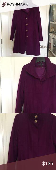 New Via Spiga Wool Coat sz4 Gorgeous Wool Via Spiga Coat sz4                      Beautiful Purple Plum Color with Gold/Black Buttons   New with Tags Via Spiga Jackets & Coats