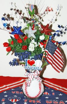 Star-Spangled Baseball Rose Arrangement