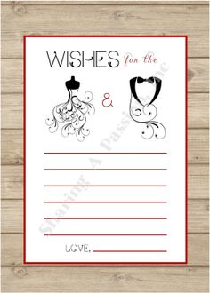 (Advice and Encouragement, too!) Wishes for the Bride and Groom - Advice Cards - Wedding Ideas - DIY