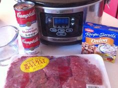 Crockpot Cube Steak & Gravy Recipe - 1 family pack of (thick) cube steaks, 2 (10.75 oz each) cans cream of mushroom soup, 1 envelope (1.25 oz) dry onion soup mix, 3/4 c water, salt & pepper to taste. Place cube steaks in crockpot. Stir all other ingredients together and pour over meat. Cover and cook on low 7-8 hours. Serve over rice or mashed potatoes.