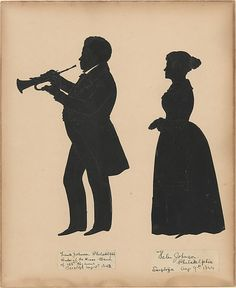 #MetKids Fun Fact: Auguste Edouart practiced cutting out pictures of heads for almost a whole year before he started cutting out full figures. | Auguste Edouart (French, 1789–1861). Frank Johnson, Leader of the Brass Band of the 128th Regiment in Saratoga, with his wife, Helen, 1842–44. The Metropolitan Museum of Art, New York. Gift of Philip S. P. and Elisabeth W. Fell, 1976 (1976.652.3-4)