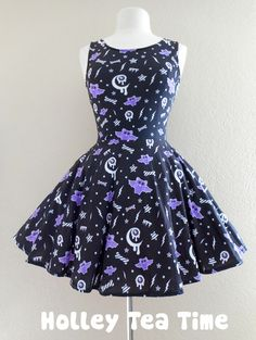 ☆ This item is a made to order skater dress. The dress will be manufactured printed, cut and sewn in the factory and then will be delivered to you. Time to manufacture the dress is 4-5 weeks before shipping out.  ☆ A cute dress that can be dresses up or worn as casual wear. Perfect for fairy kei, p