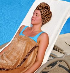 Lounging by the pool in a Turbie Twist