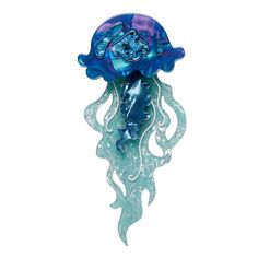 "Erstwilder Collectible Slippin' Under Jellyfish Brooch. ""Whether it's a fluther or a smack, these beautiful, often iridescent creatures are known to pack a mighty big sting"" Blue Jellyfish, Glass Animals, Pin Up Style, Animal Jewelry, Resin Jewelry, Jewellery, Stars And Moon, All Design, Clear Acrylic"