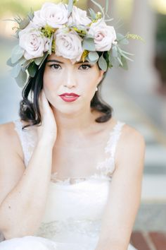 DIY Frida Kahlo Inspired Flower Crown For Bridal Portrait Session by Anne Marie Photography | Two Bright Lights :: Blog