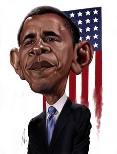 Barack Obama [by Alex Gallego] #Caricature #FunnyFaces