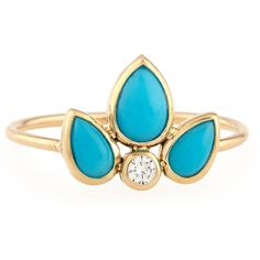 Zoe Chicco Turquoise & Diamond Starburst Ring ($525) ❤ liked on Polyvore featuring jewelry, rings, turquoise, green turquoise ring, diamond jewelry, 14 karat gold ring, cabochon jewelry and bezel setting diamond ring