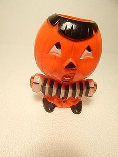 Vintage Rosbro Plastic Halloween Candy Container Pumpkin Man With Accordion