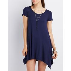 Charlotte Russe Scoop Neck Trapeze Shift Dress ($23) ❤ liked on Polyvore featuring dresses, navy, navy swing dress, navy blue swing dress, blue shift dress, blue swing dress and charlotte russe