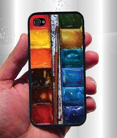 3D Watercolor Box iPhone Case - Rubber Silicone iPhone 4 Case or Plastic iPhone 5 Case. $12.95, via Etsy.