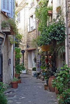 Street in the Old Village of Mougins, France