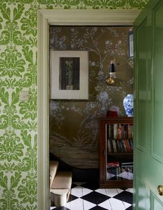 Gavin Houghton, On Wallpaper, The World of Interiors, Painted Floors, Jack Russells - and Darren. - Bible of British Taste % Green Interiors, World Of Interiors, House, Interior, Painted Floors, Home Additions, Interior Wallpaper, Country House Design, English Interior