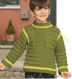 Свитер для мальчика спицами структурным узором