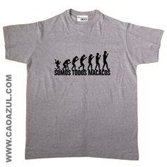 EVOLUÇÃO SOMOS...MACACOS t-shirt cão azul