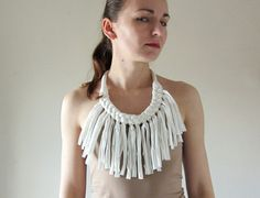 Chunky white fabric necklace with fringe, statement necklace, bib, upcycled, recycled, repurposed