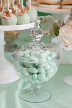 Candy jar with mint colored candies