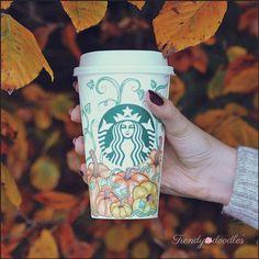 Autumn pumpkin doodles on a Starbucks cup