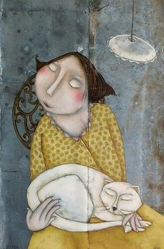 yellow - woman with cat - figurative painting - Magalie Bûcher Art And Illustration, Illustrations, Art Fantaisiste, Naive Art, Cat Drawing, Whimsical Art, Figure Painting, Crazy Cats, Cat Art