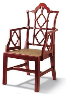 Red Openwork Chair asian dining chairs and benches