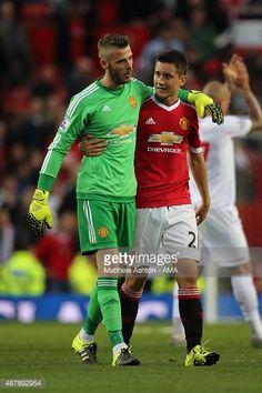 David De Gea of Manchester United walks off with Ander Herrera of Manchester United after the 3-1 victory